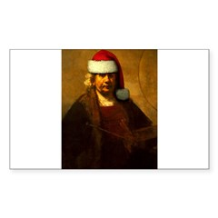 Rembrandt Santa Rectangle Sticker (Rectangle 50 pk)