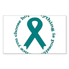 Teal Hope Oval Sticker (Rectangle 50 pk)