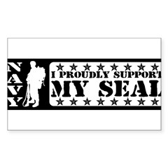 Proudly Support Seal - NAVY Sticker (Rectangle 50 pk)