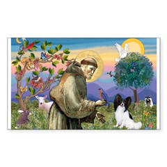 St Francis & Papillon Rectangle Sticker (Rectangle 50 pk)