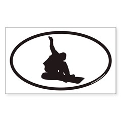 Snowboarding Euro Oval Sticker (Rectangle 50 pk)