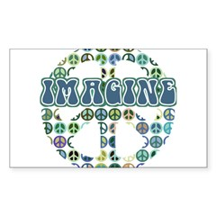 Retro Peace Sign Imagine Rectangle Sticker (Rectangle 50 pk)