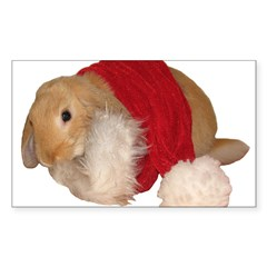"""Xmas Bunny 1"" Rectangle Sticker (Rectangle 50 pk)"