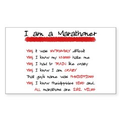 I am a Marathoner Rectangle Sticker (Rectangle 50 pk)