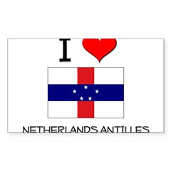 I Love Netherlands Antilles Sticker (Rectangle 50 pk)