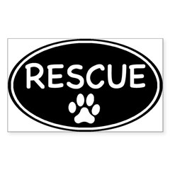 Rescue Black Oval Oval Sticker (Rectangle 50 pk)