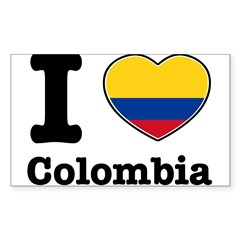 I love Colombia Rectangle Sticker (Rectangle 50 pk)
