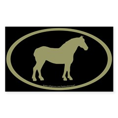 Draft Horse Oval (sage/blk) Oval Sticker (Rectangle 50 pk)