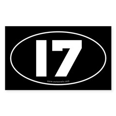 #17 Euro Bumper Oval Sticker -Black Sticker (Rectangle 50 pk)
