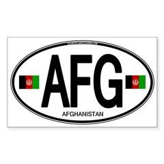 Afghanistan Euro Oval Sticker (Rectangle 50 pk)