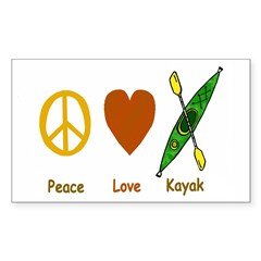 Peace,Luv,Kayak Sticker (Rectangle 50 pk)