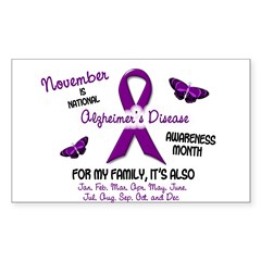 Alzheimers Awareness Month 2.2 Oval Sticker (Rectangle 50 pk)