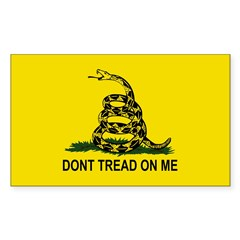 Gadsden Flag Oval Sticker (Rectangle 50 pk)