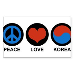 Peace Love Korea Rectangle Sticker (Rectangle 50 pk)