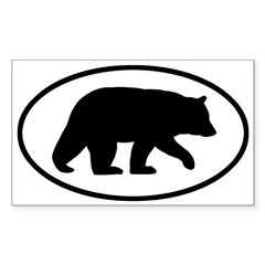 Black Bear Oval Sticker (Rectangle 50 pk)