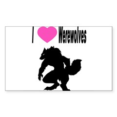 I *heart* Werewolve Sticker (Rectangle 50 pk)