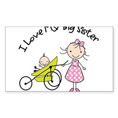 little brother big sister matching shirt Sticker (Rectangle 50 pk)
