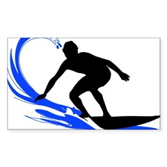 Wave Surfing Oval Sticker (Rectangle 50 pk)