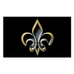 Fleur de Lis on BLK Oval Sticker (Rectangle 50 pk)