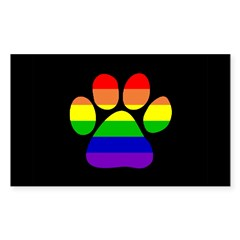 Paw Pride - Black Small Sticker (Rectangle 50 pk)