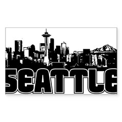 Seattle Skyline Sticker (Rectangle 50 pk)