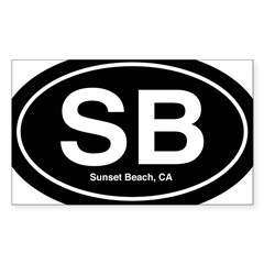 Sunset Beach Sticker (Rectangle 50 pk)