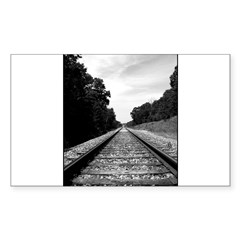 .railroad tracks. b&w Sticker (Rectangle 50 pk)