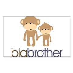 Big Brother Monkey Sticker (Rectangle 50 pk)