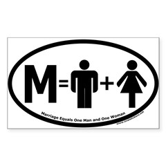 Marriage Equals One Man and One Woman Oval Sticker (Rectangle 50 pk)