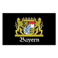 Black Bayern Sticker (Rectangle 50 pk)