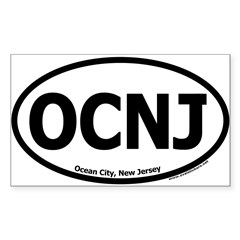 "Ocean City, New Jersey ""OCNJ"" Oval Sticker (Rectangle 50 pk)"