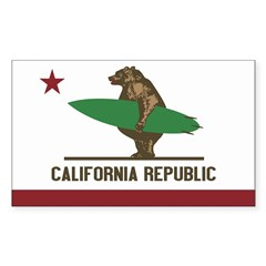 California Surfing Bear Flag Sticker (Rectangle 50 pk)