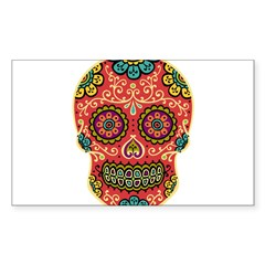 Red Sugar Skull Sticker (Rectangle 50 pk)