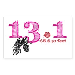 13.1 Half Marathon Pink Sticker (Rectangle 50 pk)