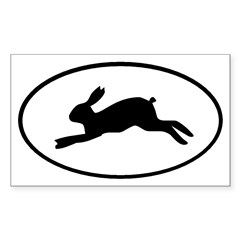 Rabbit Oval Sticker (Rectangle 50 pk)
