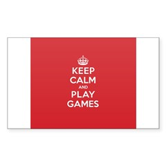 Keep Calm Play Game Sticker (Rectangle 50 pk)
