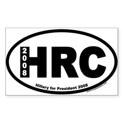 Hillary Clinton for President HRC Oval Sticker (Rectangle 50 pk)