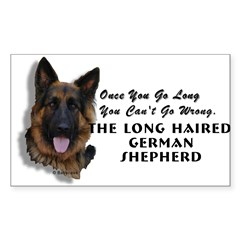 New Item! Long Haired German Shepherd Sticker (Rectangle 50 pk)