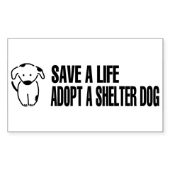 Adopt A Dog Sticker (Rectangle 50 pk)