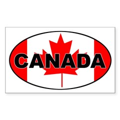 Canadian Flag Oval Sticker (Rectangle 50 pk)