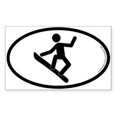 """Snowboarder"" - Oval Sticker (Rectangle 50 pk)"