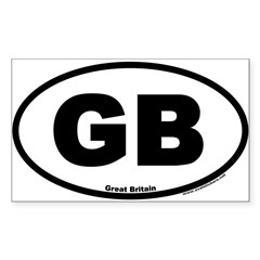 Great Britain GB Euro Oval Sticker (Rectangle 50 pk)