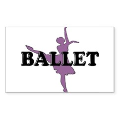 Female Ballet Silhouette Rectangle Sticker (Rectangle 50 pk)