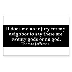 Jefferson religious tolerence Sticker (Rectangle 50 pk)