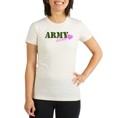 Army Aunt Green & Pink Hear Organic Women's Fitted T-Shirt