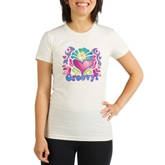 Hippie Groovy Heart Design Organic Women's Fitted T-Shirt