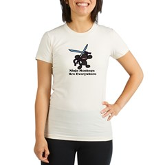 Black Ninja Monkey Overhead w Organic Women's Fitted T-Shirt