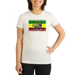 Grunge Rastafarian Flag Organic Women's Fitted T-Shirt