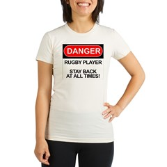 """Danger Rugby Player"" Organic Women's Fitted T-Shirt"