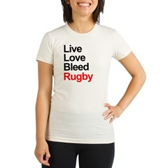 Live, Love, Bleed, Rugby Organic Women's Fitted T-Shirt